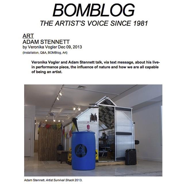 ADAM STENNETT: Artist Survival Shack Interview on BOMB